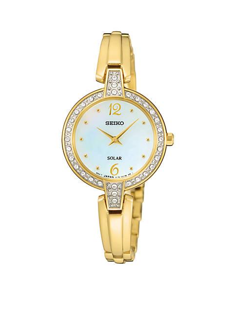 Seiko Womens Gold-Tone Solar Crystal Bezel Watch