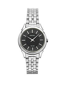 Seiko Women's Slimline Solar Silver-Tone with Black Dial Watch