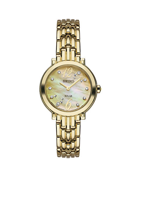 Seiko Womens Gold-Tone Stainless Steel Tressia Mother-Of-Pearl