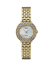 Women's Gold-Tone Diamond Solar Art Deco Watch