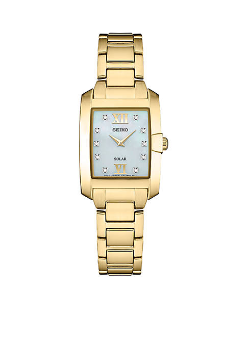Seiko Ladies Solar Gold-Tone with MOP Dial and