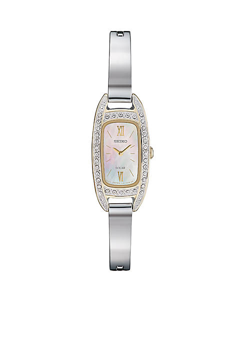 Solar Mother of Pearl Crystal Dial Watch
