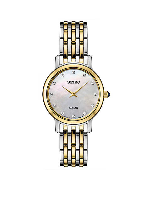 Seiko Womens Two-Tone Stainless Steel Solar Mop Dial