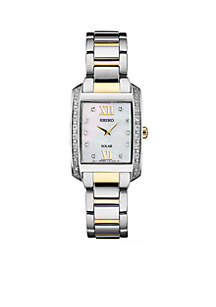 Women'ss Two-Tone Stainless Steel Solar Mop Dial Watch