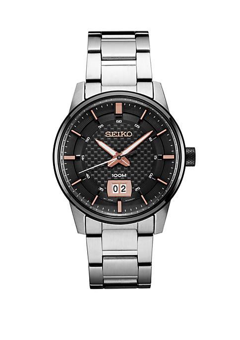 Seiko Mens Essential Dress Watch with Black Pattern