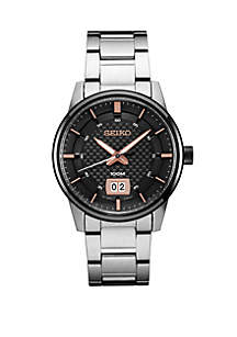 Seiko Men's Essential Dress Watch with Black Pattern Dial