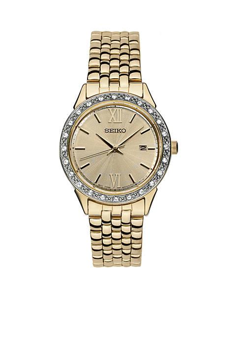 Seiko Womens Gold-Plated Glitz Bracelet Watch