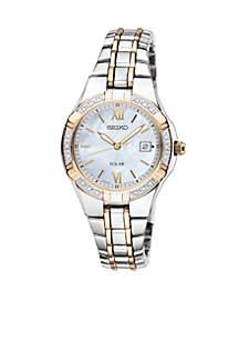 Women's 50 Meter Two Tone Solar Diamond Bezel Dress Watch