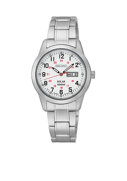 Womens Stainless Steel Silver-Tone White Dial Solar Watch