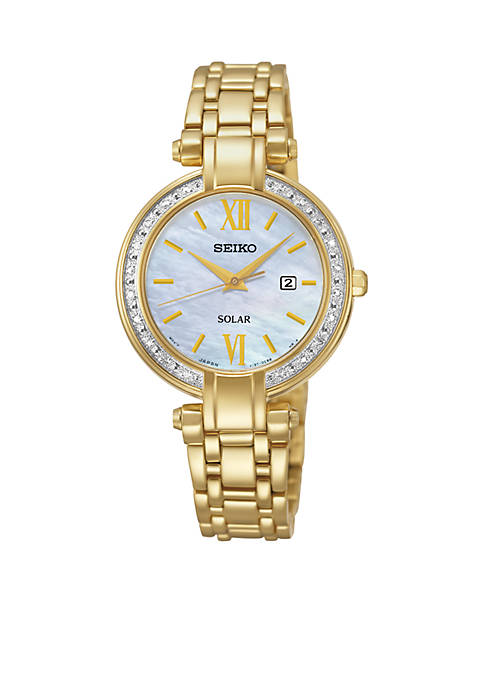 Seiko Womens Diamond Solar Dress Watch