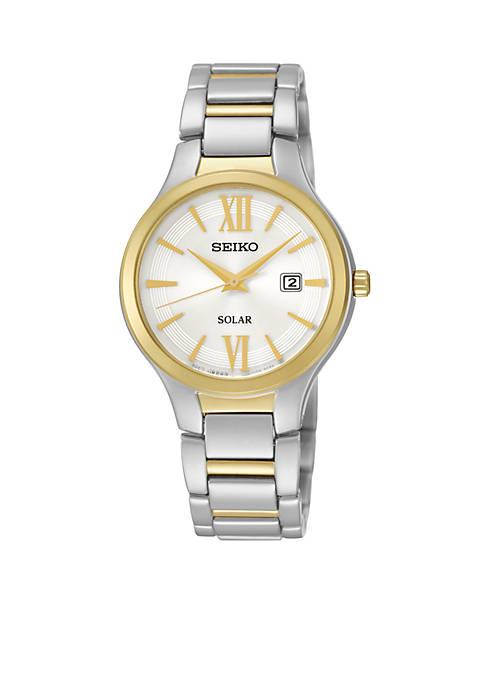 Seiko Two-Tone Solar Calendar Watch