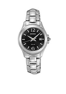 Women's Silver-Tone Solar Calendar Watch