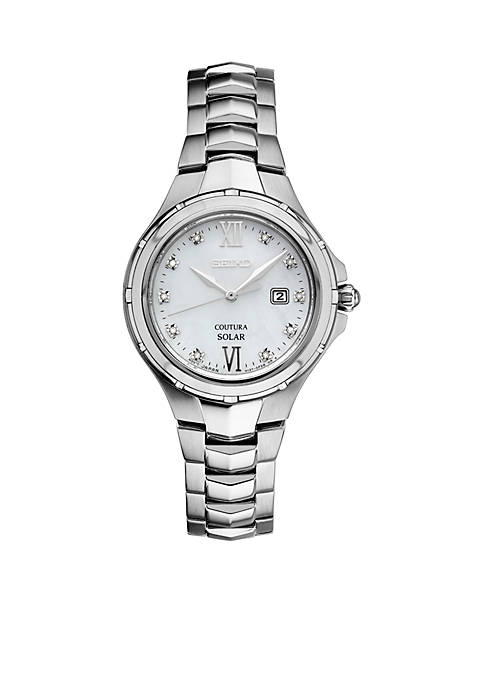Seiko Womens Courtura Solar Silver-Tone with Diamond Accents