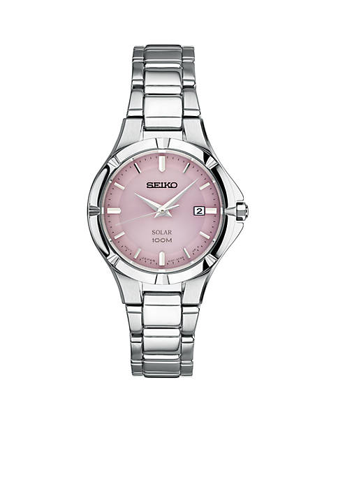 Ladies Stainless Steel Seiko Solar Pink Dial Watch