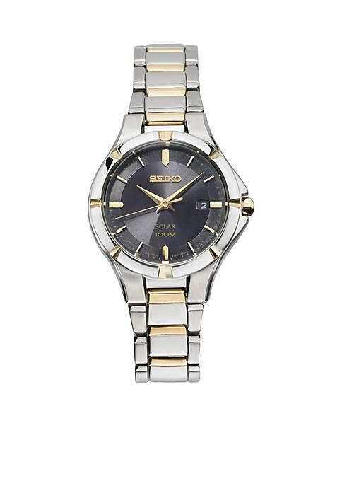 Seiko Womens Solar Two-Tone Black Dial Watch