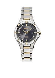 Women's Solar Two-Tone Black Dial Watch