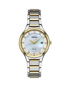 Seiko Womens Two-Tone Stainless Steel Solar Mother-Of-Pearl Dial Watch