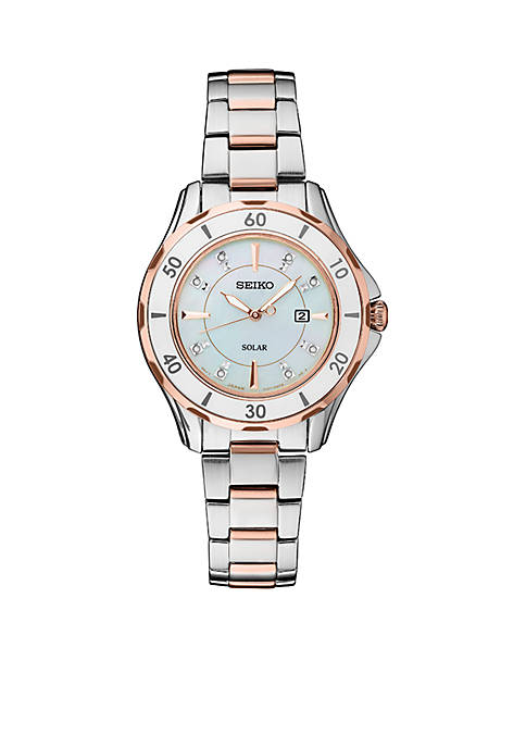 Seiko Womens Rose Gold-Tone Mother of Pearl Solar