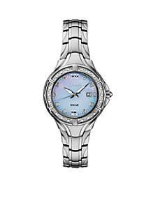 Women's Stainless Steel Solar Mop Dial Bracelet Watch