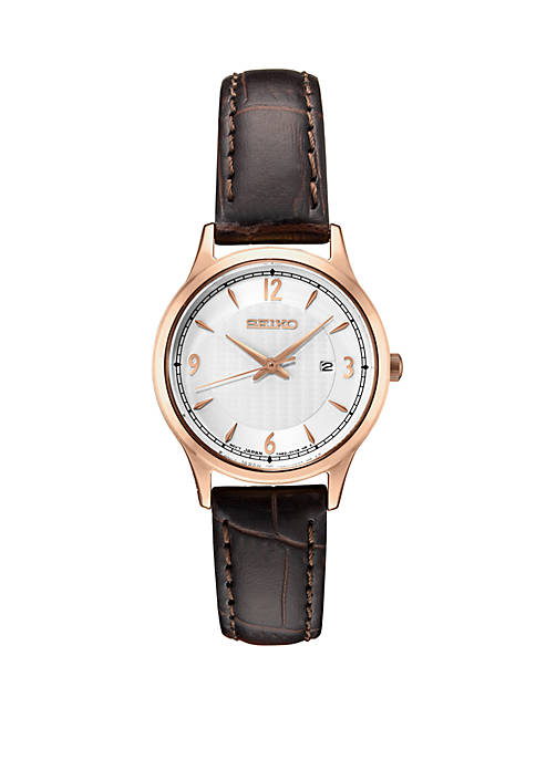 Seiko Ladies Essential Dress Watch with Silver Pattern