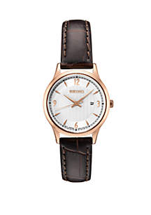 Seiko Ladies' Essential Dress Watch with Silver Pattern Dial
