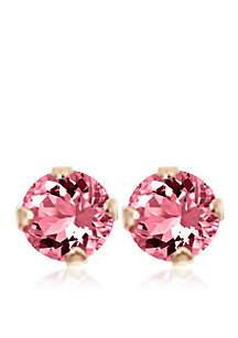 Children's 14K Pink Cubic Zirconia Earrings