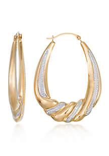 10k Yellow Gold Oval Hoop Earrings