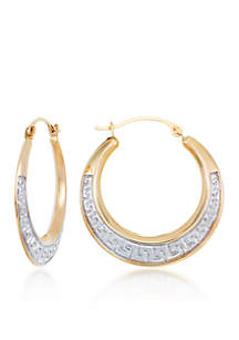 10k Two Tone Gold Etruscan Hoop Earrings