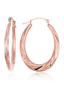 10k Rose Gold Oval Hoop Earrings
