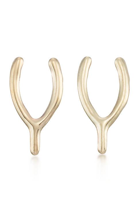 10k Yellow Gold Wishbone Stud Earrings