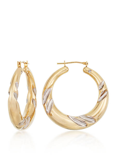 Modern Gold™ 14k Two-Tone Gold Hoop Earrings