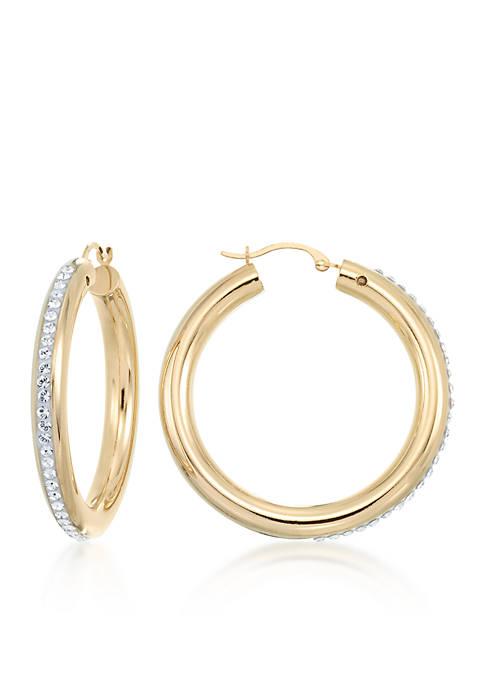 14k Yellow Gold Crystal Hoop Earrings