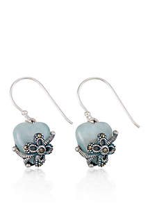 Marcasite and Jade Heart Drop Earrings in Sterling Silver