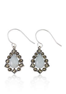 Genuine Marcasite and Jade Teardrop Earrings in Sterling Silver