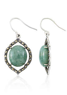 Marcasite and Jade Sterling Silver Oval Earrings