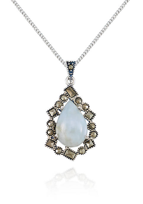 Belk & Co. Marcasite and Jade Teardrop Pendant