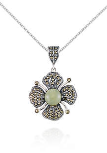 Marcasite and Jade Flower Pendant