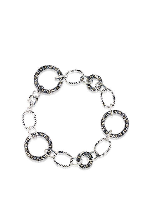 Belk & Co. Marcasite Link Bracelet in Sterling