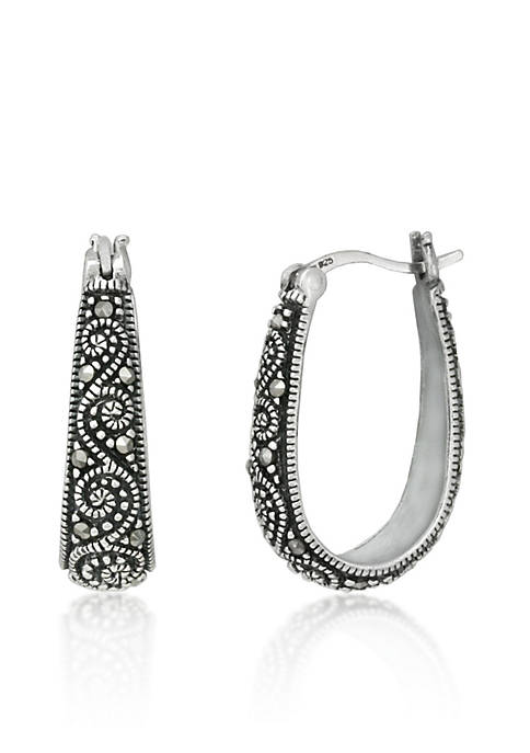 Belk & Co. Genuine Marcasite Scroll Hoop Earrings