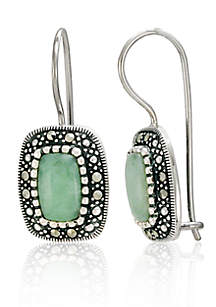 Genuine Marcasite and Jade Rectangle Wire Earrings in Sterling Silver