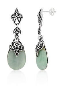 Genuine Marcasite and Jade Teardrop Post Earrings in Sterling Silver
