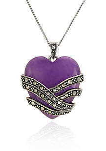 Genuine Marcasite and Purple Agate Heart Pendant in Sterling Silver