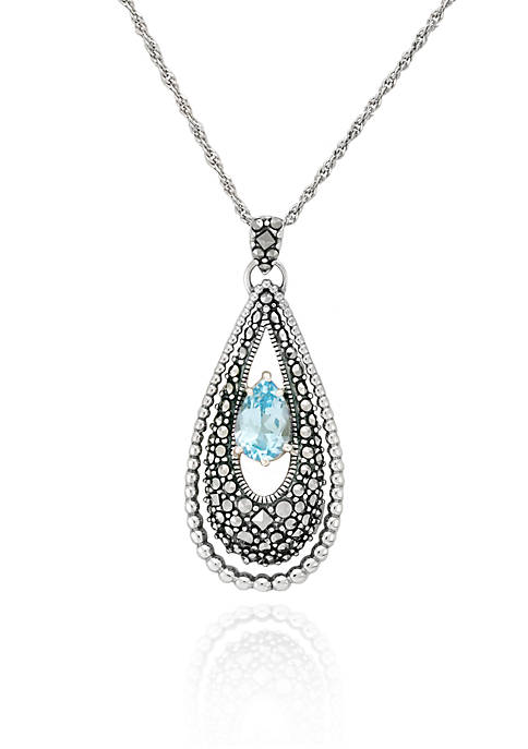 Belk & Co. Genuine Marcasite and Blue Topaz