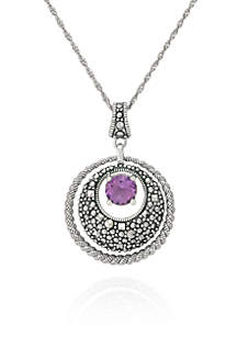 Genuine Marcasite and Amethyst Circle Pendant in Sterling Silver