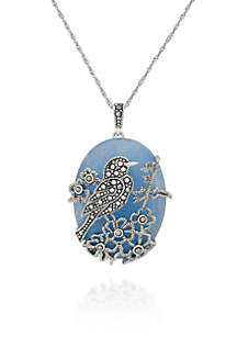 Genuine Marcasite and Blue Jade Bird Pendant in Sterling Silver