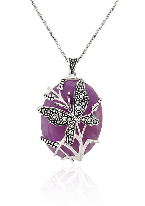 Genuine Marcasite and Purple Agate Oval Butterfly Pendant in Sterling Silver