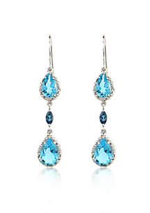 Sterling Silver Blue Topaz and Diamond Drop Earrings