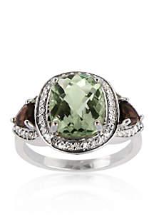 Sterling Silver Green Amethyst, Smokey Topaz, and Diamond Ring