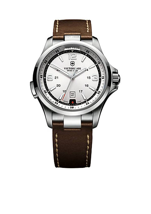 Night Vision Silver Dial with Brown Leather Strap Watch