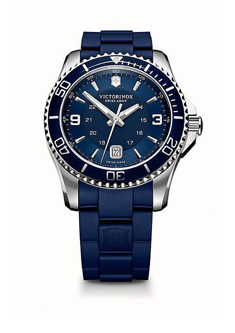 Stainless Steel Maverick GS Blue Rubber Strap Watch